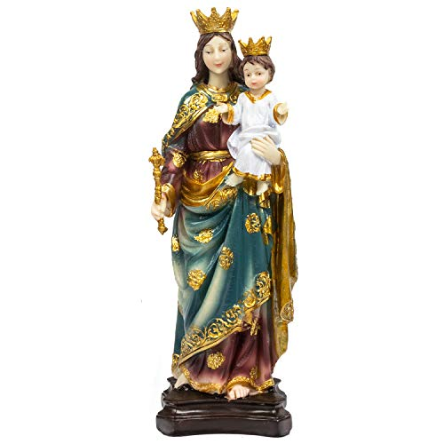 KI Store Virgin Mary Mother Holding Child Jesus Statue Madonna with Jesus Figurine 12-Inch Religious Display Decorations ()