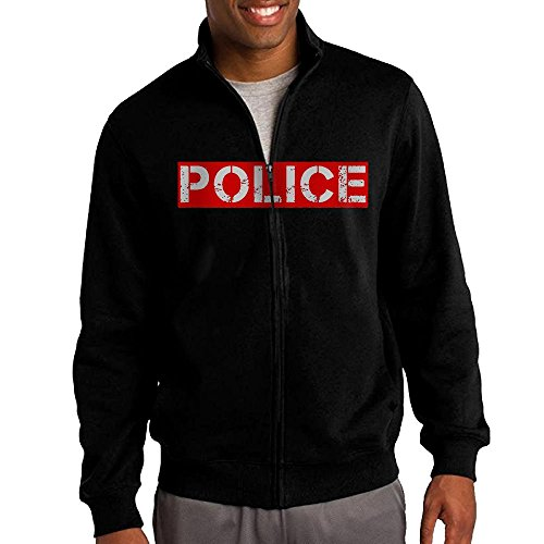 Crayola Logo For Costume (Men's I'm Not The Police Logo Solid Stand Collar Zipper Jacket Size XL)