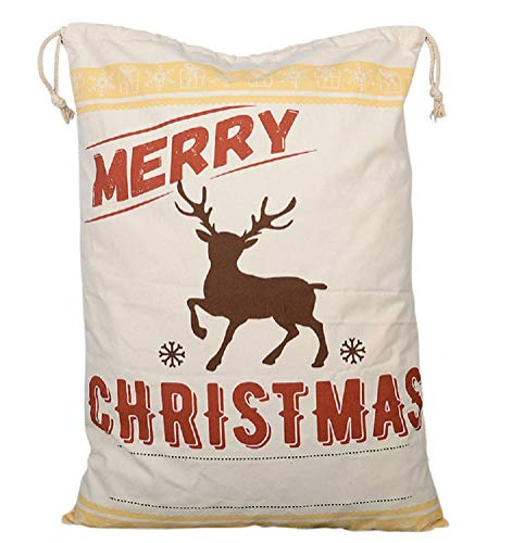 Reindeer Gift Bag - Large Christmas Bags Santa Sacks ~ Eco Friendly Reusable Cotton Designs - XL 27