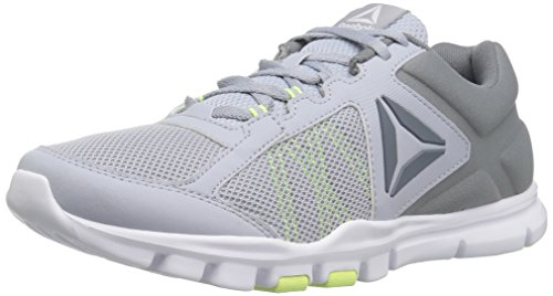Reebok Women's Yourflex Trainette 9.0 MT Track Shoe, Cloud Grey/Asteroid dust/Electric Flash/White, 8.5 M US