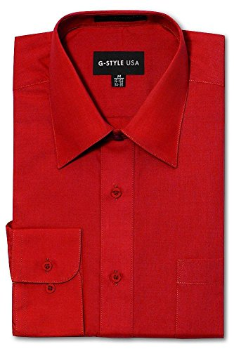 G-Style USA Men's Regular Fit Long Sleeve Solid Color Dress Shirts - RED - X-Large - 36-37