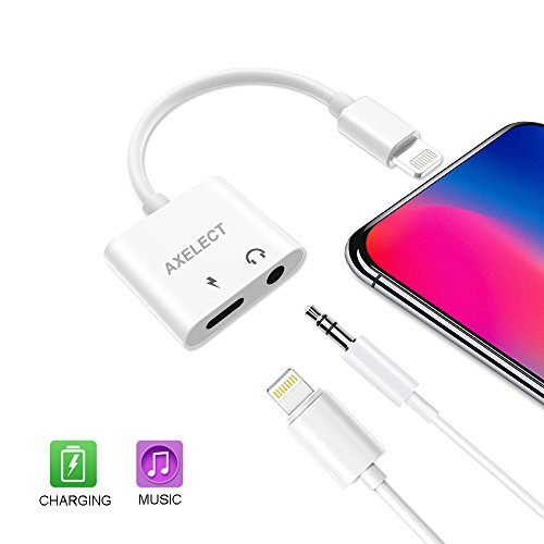 AXELECT Headphones Adapter, 3.5 mm Jack Adapter Compatible for iPhone X/8/8Plus 7/7Plus, 2 in 1 Aux Audio Adapter Splitter Connector Adaptor
