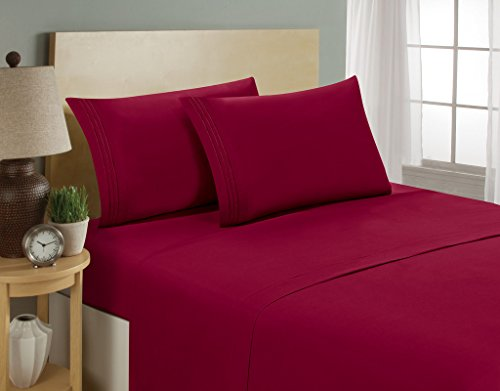 HC Collection 1800 Series Luxury 4pc Bed Sheets Set, Highest Quality, Deep Pocket, Silky Soft, Wrinkle & Fade Resistant (Queen, Burgundy)