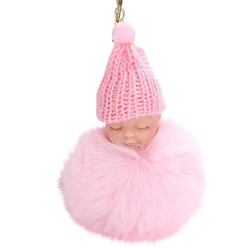 BEUU 2018 8CM Cute Doll Keychain Pendant Women Key Ring Holder Pompoms Key Chains Rings For Women Jewelry Keychain Women'S Fashion (Pink)