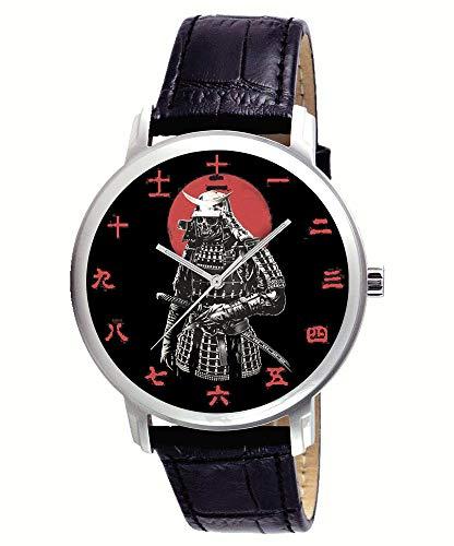 (RARE ANTIQUE SAMURAI PRINT, JAPANESE IRONCLAD ARMOR TRADITIONAL NIPPON KANJI DIAL BRASS WRIST WATCH)