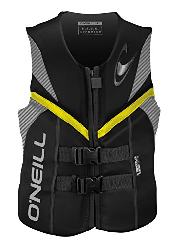 O'Neill mens Reactor USCG life vest XL Black/smoke/yellow (4720) ()