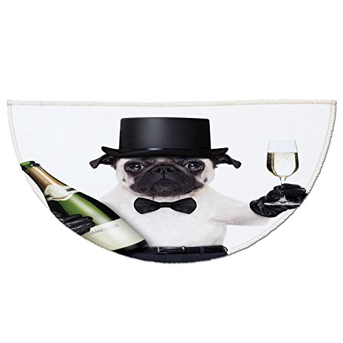 - Half Round Door Mat Entrance Rug Floor Mats,Pug,Celebration Dog with Champagne Bottle while Toasting Happy Moments Photographs,Black White Emerald,Garage Entry Carpet Decor for House Patio Grass Water