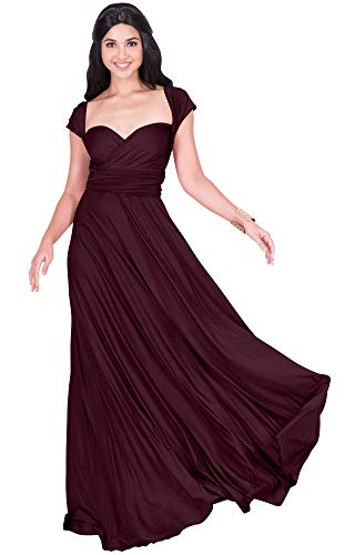 KOH KOH Womens Long Bridesmaid Multi-Way Wedding Convertible Wrap Infinity Cocktail Sexy Summer Party Formal Prom Transformer Gown Gowns Maxi Dress Dresses, Maroon Wine Red M 8-10