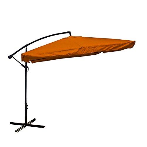 ALEKO UMB10FTOR Adjustable Outdoor Banana Hanging Canopy Umbrella Patio Waterproof Polyester with 360 Degree Rotation 8 x 10 Feet Orange