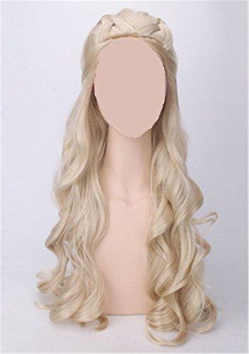 Daenerys Costumes Wig (OYSRONG 31.5'' Women Long Curly Anime Daenerys Targaryen Costume Cosplay Lace Cap Wig (beige))
