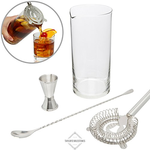 Taylor'd Milestones Cocktail Mixing Glass Set. Includes Heavy Bottom Mixer Glass Made in the USA, Stainless Steel Bar Spoon, Double Jigger & Cocktail Strainer. Premium Bar Accessories for Drink (0.5 Ounce Cocktail Glass)