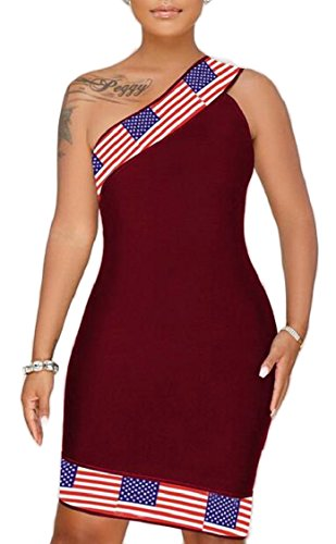 Stampa Bandiera Donne Jaycargogo Randello Tagliano Midi Rosso Collo Vino Aderente Americano Vestito Xxaxq74