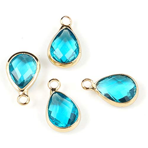 10pcs March Aquamarine Blue Birthstone Charms 11x7mm Teardrop Crystal Beads Gold Plated Brass for Jewelry Craft Making CCP14-3