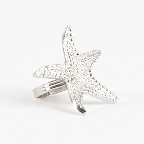 Elegant Nautical Design Silver Napkin Rings, Set of 4 (Starfish) ()