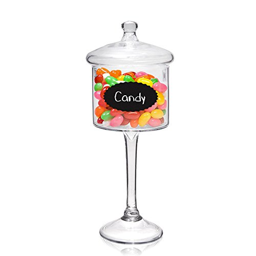 Candy Jar on Stand - Glass Cookie Holder on Pedestal for Buffet, Wedding, Parties, Home Decoration - 16 Inches Tall (Chalk Labels Included)