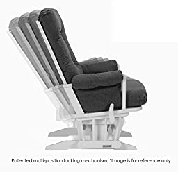 Dutailier Sleigh Glider-Multi-Position Recline and Nursing Ottoman Combo, White/Dark Grey