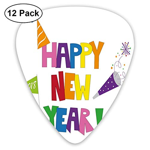 Celluloid Guitar Picks - 12 Pack,Abstract Art Colorful Designs,Bubbly Square Font Illustration With Party Items Hats And Festive Elements,For Bass Electric & Acoustic Guitars.