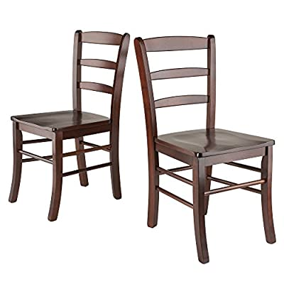 "Winsome Wood Benjamin Seating, Walnut - Overall chair size is 16. 60""W x 20. 50""D x 34. 70""H. Seat Height is 18"". 2 chairs, Seat Dimension is 16. 54""W x 15. 55""D. Seat Back size is 16. 60""W x 16. 69""H. Max weight limited 220 lbs. Made from solid wood in walnut Finish. Assembly required. - kitchen-dining-room-furniture, kitchen-dining-room, kitchen-dining-room-chairs - 41 FNgja6JL. SS400  -"