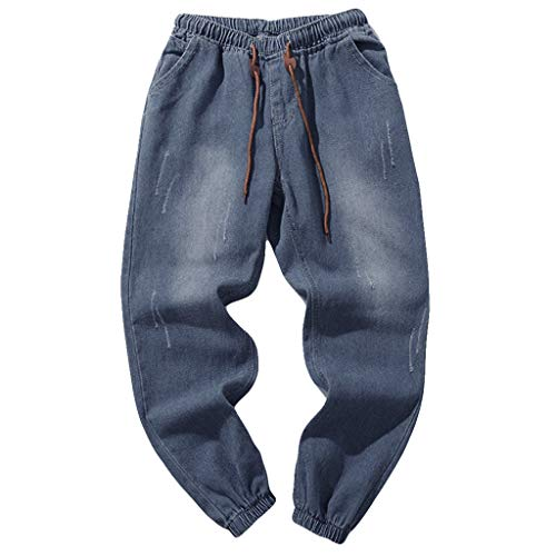 Men's Elastic Waist Denim Pants Fashion Casual Plus Size Stretch Hip Hop Jeans Slim Fit Vintage Trousers with Pockets ()