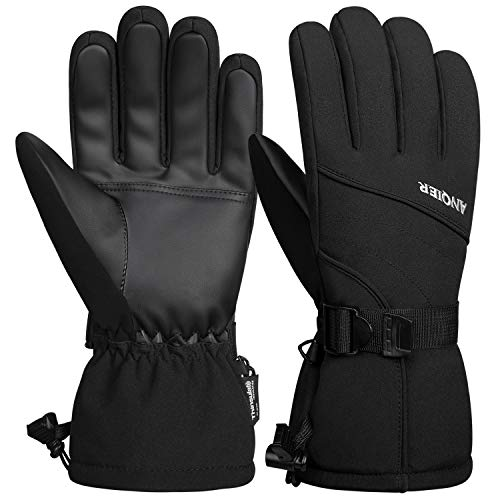 LANYI Mens Gloves Winter Waterproof Ski Gloves Thinsulate Snowboard Driving Outdoors Warm Fleece Snow Gloves Thermal Cold Weather Women Gloves Gifts for Men (Black, M)