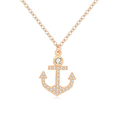 - MUZHE CZ Anchor Necklace,Gold Rose Gold Silver Anchor Pendant Necklace Navy Jewelry for Women Men (Gold)