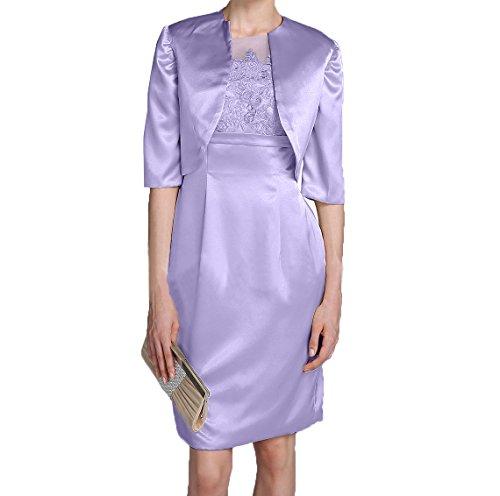 Damen Satin Etuikleider Lilac Langarm Abendkleider Elegant mit Charmant Partykleider Brautmutterkleider Jaket Promkleider HqdaHU