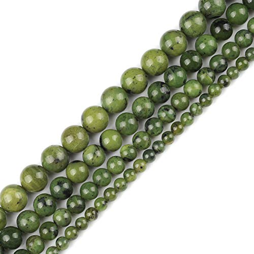 Genuine Natural Real Smooth Round Canadian Jade Gemstone Beads Loose Beads for Jewelry Making Approxi 15.5