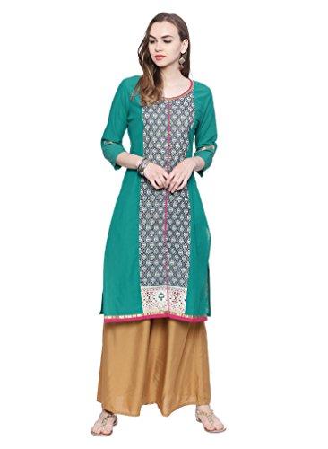 Womens Kurtas - Avaana Teal Printed Cotton-Cambric Long Kurta, Large, Teal