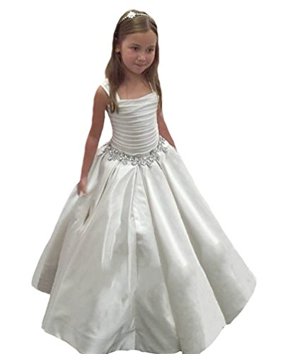 QueenBridal Satin Flower Girl Dresses Strapless Pleated Pageant Ball Gown Ivory