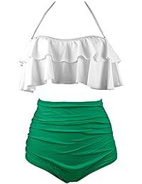 Women Flounce Bikini Swimsuit High Waist Two Piece Swimwear