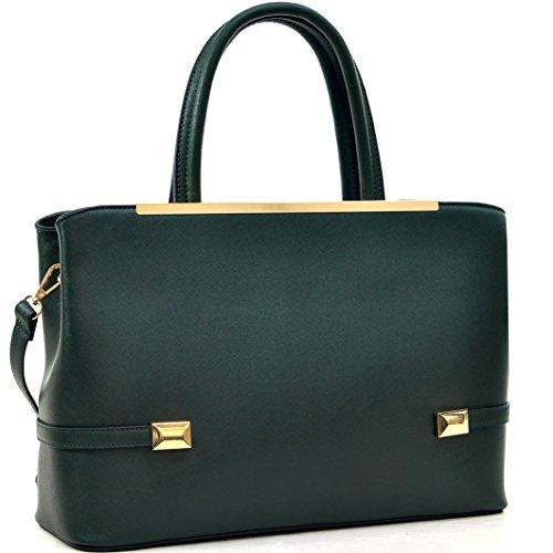 MKY Women Leather Tote Briefcase Laptop and Tablet Bag Large Handbag w/ Removable Shoulder Strap Dark Green