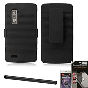 Viesrod Rubberized Black Holster Belt Clip and Shell Combo for ZTE Anthem n910. Comes with Screen Protector, Stylus Pen...