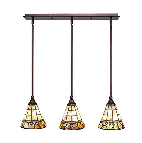 Toltec Lighting 25-BRZ-9735 3 Multi Light Mini Pendant with Hang Straight Swivels Shown in Bronze Finish with 7-Inch Cobblestone Tiffany Glass