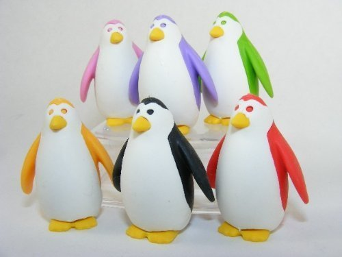 (Iwako Sea Animals 6 Colours Penguin Japanese Erasers (6 pcs) NEW COLOURS! by)