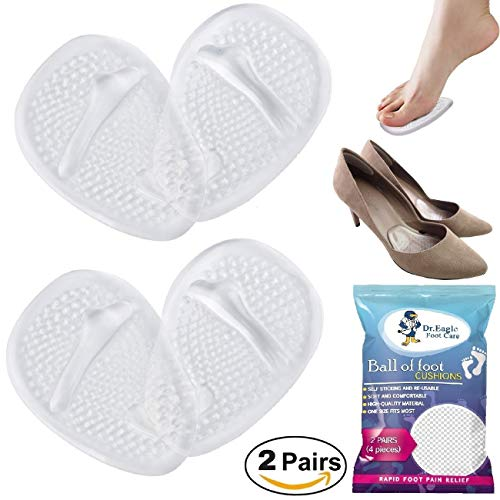 Medical Gel Forefoot Ball of Foot Cushions Shoe Insoles Metatarsal Pads women shoe inserts for foot Pain Relief, 2 Pairs (4 Pieces). Dr.Eagle foot care (®) Golden Eagles