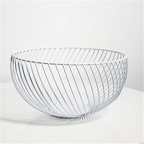 (NBLYW 10 Inch Metal Wire Fruit Storage Basket,Large Hemisphere Decorative Holder,Kitchen Countertop Fruit Bowl Vegetable Holder Decorative Stand,White)