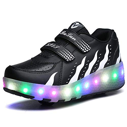 CPS LED Fashion Sneakers Kids Girls Boys Light Up Wheels Skate Shoes Comfortable Mesh Surface Roller Shoes Thanksgiving Christmas Day Best Gift(D-Double Wheels Black White-4.5 M US Big Kid)]()