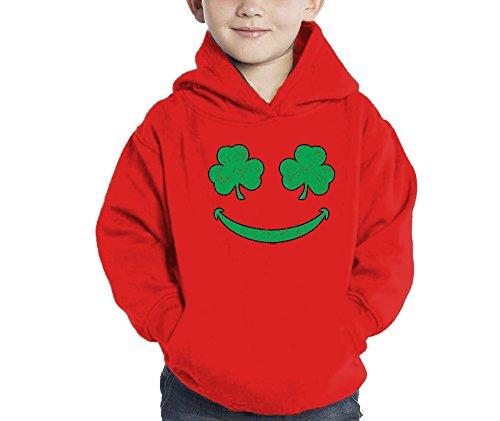 Toddler Little Boy Smiling Shamrocks - Clover - St Patricks Day Hoodie Sweatshirt (5/6, RED)