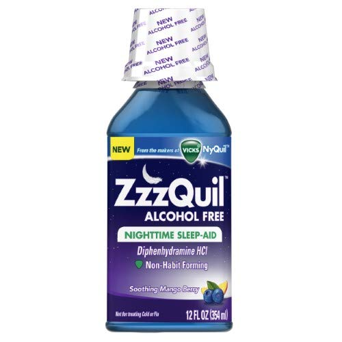 Vicks ZzzQuil Nighttime Sleep Aid, Soothing Mango Berry 12 oz Liquid (Pack of 2) ()