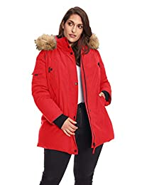 Alpine North Womens Plus-Size Womens Vegan Down Parka Winter Jacket Plus