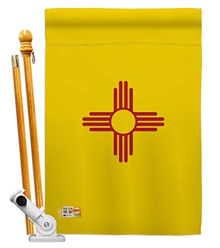"Americana Home & Garden HS140532-BO New Mexico Americana States Decorative Vertical House Flag Set, 28""x 40"" w/Flagpole, Multi-Color"