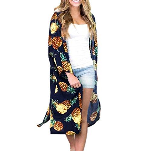 Women's Hippie Pineapple Loose Long Shawl Kimono Cardigan Cover up Blouse (XL, Navy) from ®GBSELL