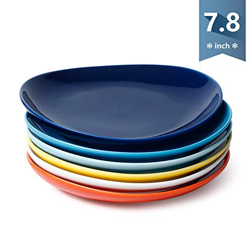 Sweese 151.002 Porcelain Dessert Salad Plates - 7.8 Inch - Set of 6, Hot Assorted Colors -