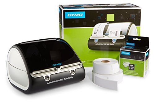 DYMO LabelWriter 450 Twin Turbo Label Maker with Bonus LW White Address Labels, 1-1/8-In. x 3-3-1/2-In., Roll of 350 - Dymo File Office Software