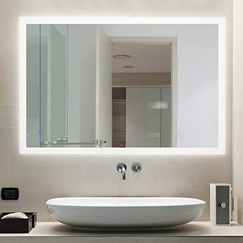 AI-LIGHTING Bathroom Mirror with Lights Large Dimmable LED Makeup Vanity Mirror Wall -