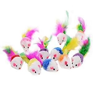 Famgee 20 PCS Furry Cat Toys Squeak Mouse Rattle Mice Cat Catcher Pet Toys with Feather Tails (Random Color) 104
