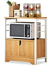 ZYL-YL Stainless Steel Microwave Shelf Stand 2 Layer Microwave Oven Rack,Kitchen Storage Organiser Cabinet (Color : Yellow, Size : 60x34x78 cm)