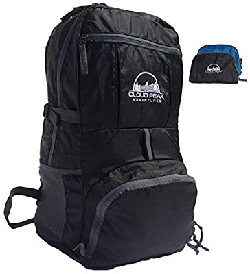Travel Backpack - Cloud Peak Blacktooth 1.0 - Lightweight Packable Day Pack - Best Large Durable Hiking Foldable Backpacks - Minimalist Daypacks for Cruise, Europe, Gym, Beach