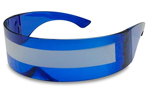 Blue Mirro Lens - SunglassUP Futuristic Wrap Around Shield Cyclops Robocop Monoblock Mirrored Sun Glasses (Blue Frame | Silver Mirrored)