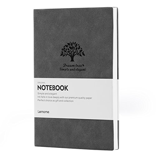 Unlined Soft Cover Journal - Lemome Dream Tree Classic Vintage Faux Leather Art Sketch Book with Thick & Smooth No Bleed Paper, Gray, Large, 8.2 × 5.6 in ( A5 )